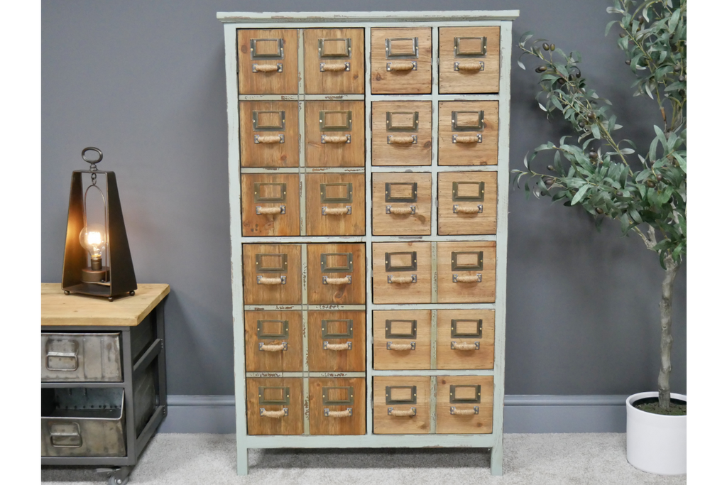 Tall Green Multi Drawer storage Cabinet With Double Cupboard