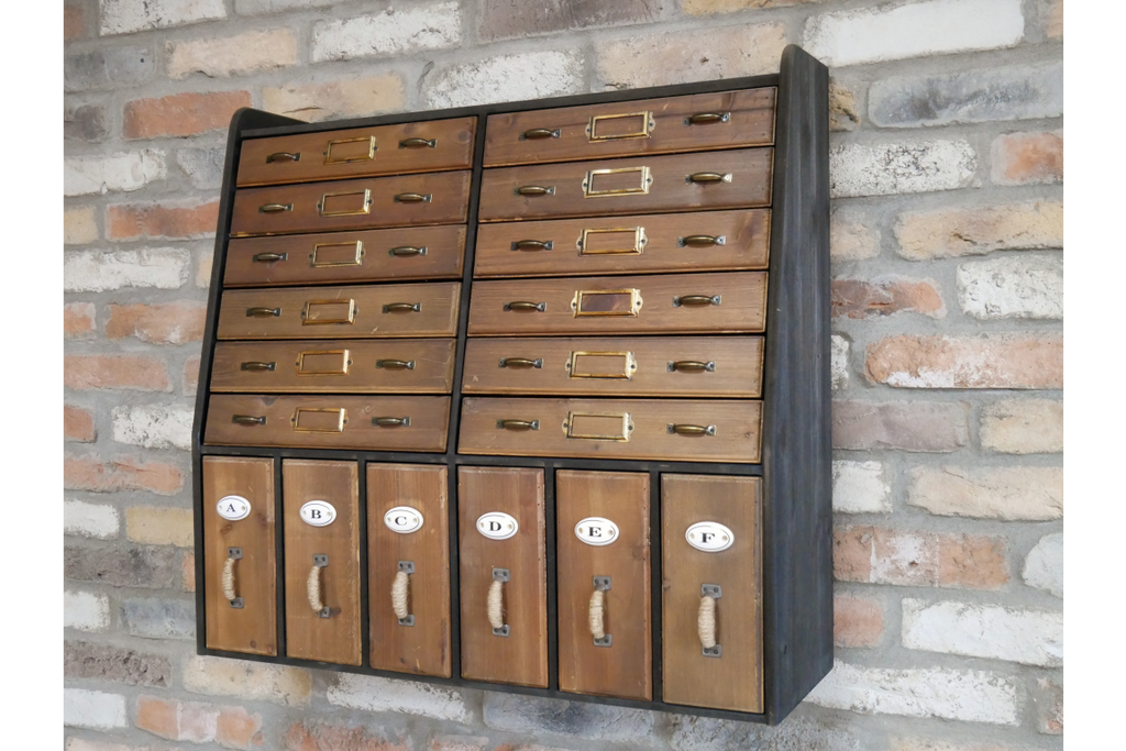 Vintage style apothecary cabinet storage wall unit.