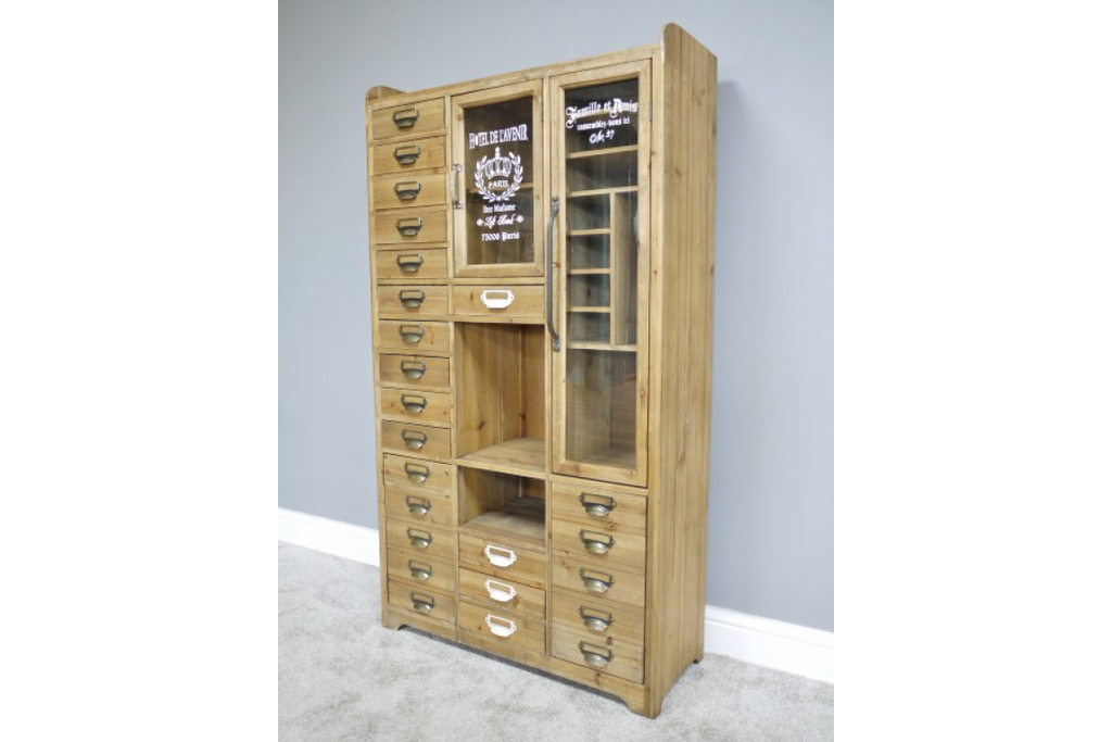 Industrial vintage storage display cabinet.