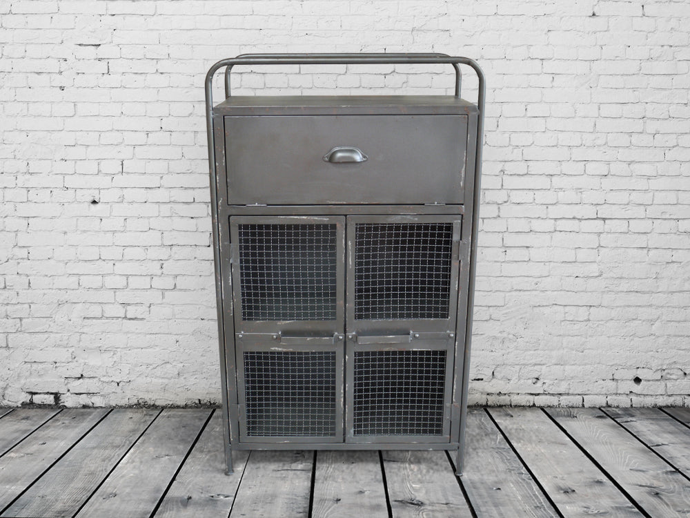 Metal industrial cabinet - cupboard with mesh fronted doors.