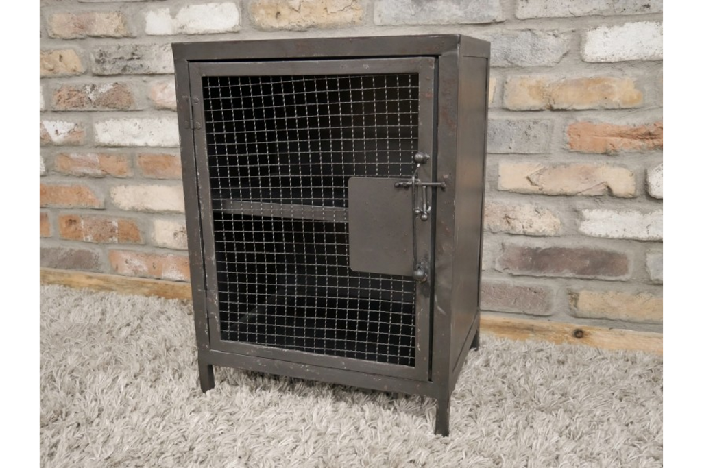 Pair of Industrial Mesh Fronted Bedside Cabinets.