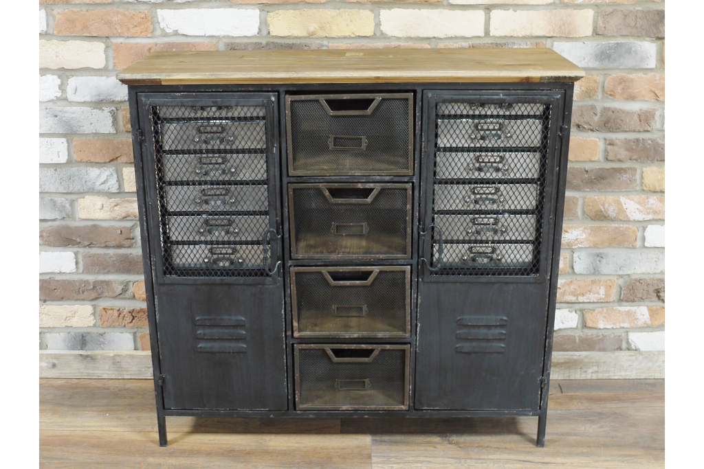 Wood Topped Black Industrial metal storage cabinet