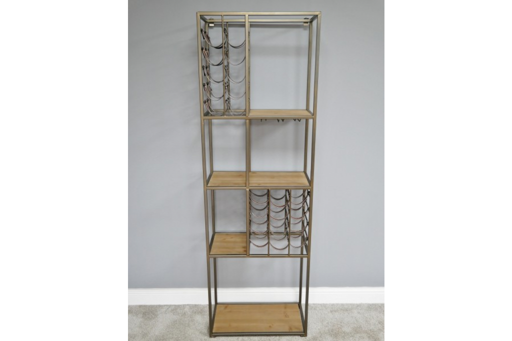 Tall metal multi compartment wine rack with shelving.