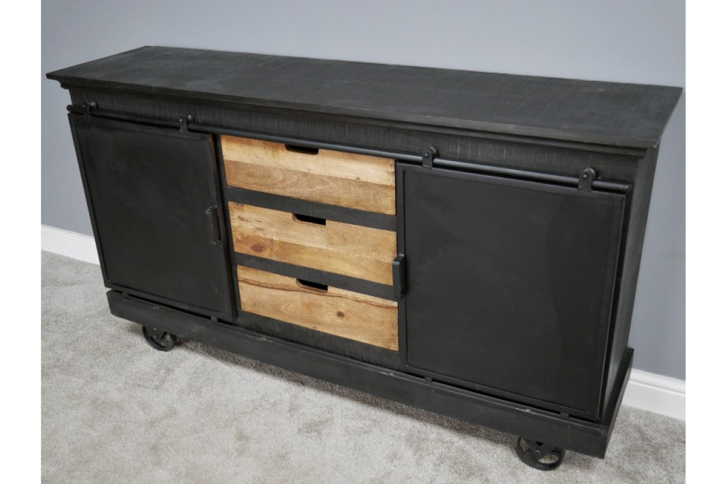 Large black industrial sideboard - cabinet. Wood and iron.
