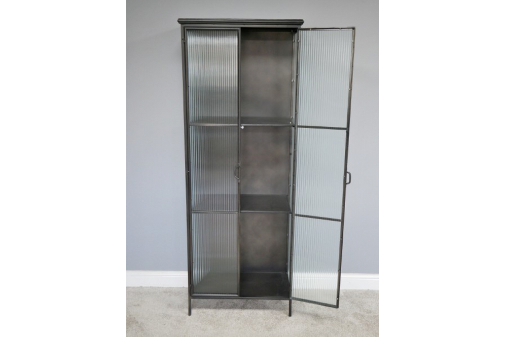 Tall metal & ribbed glass storage display cabinet