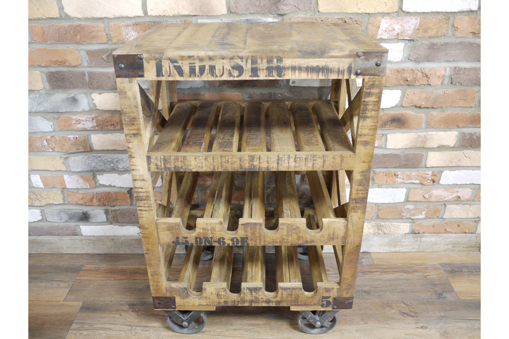 Rustic wood industrial wine rack.