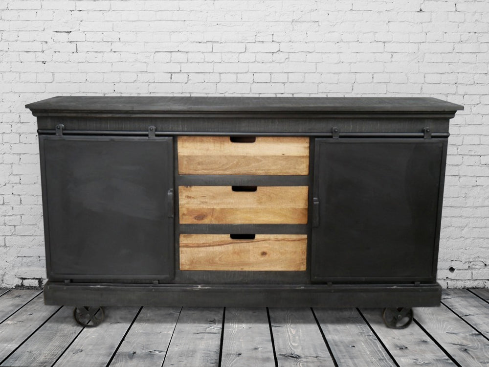 Large black industrial sideboard
