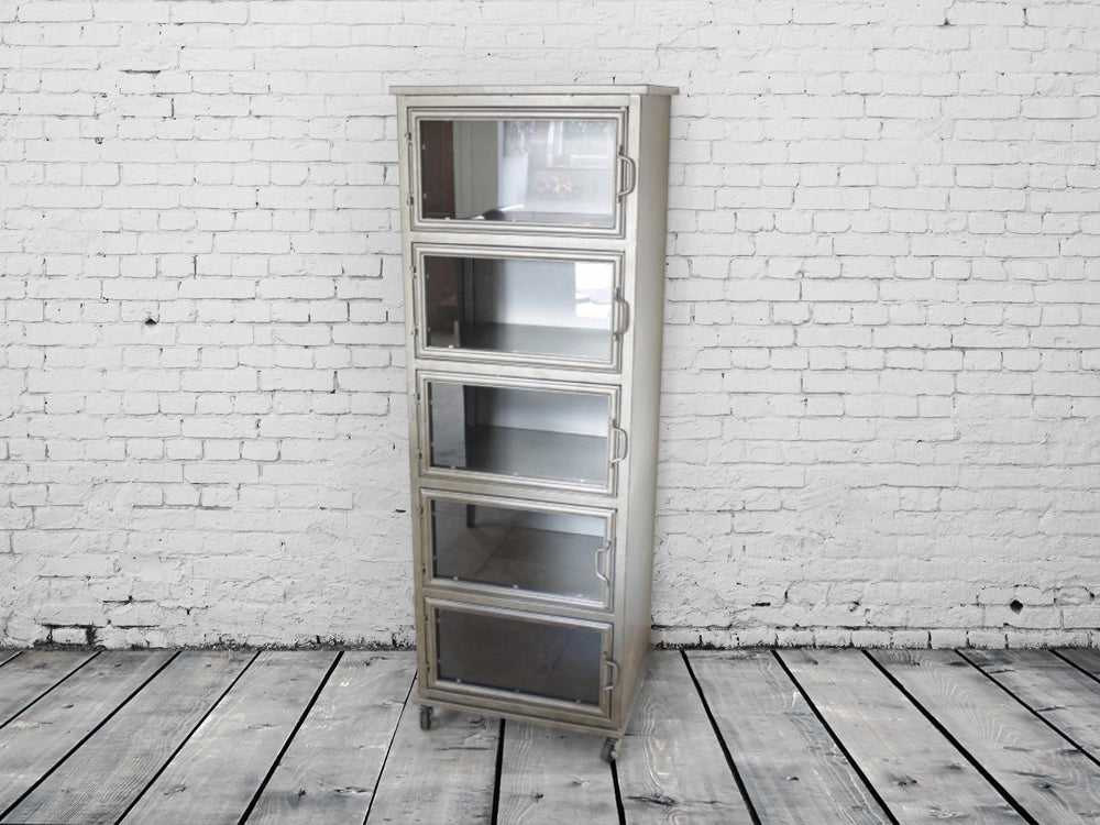 Tall glass fronted industrial steel storage cabinet