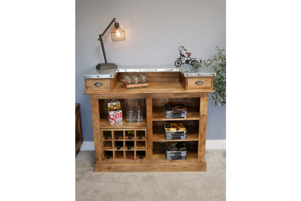 Large solid wood bar counter-cabinet with wine bottle storage.