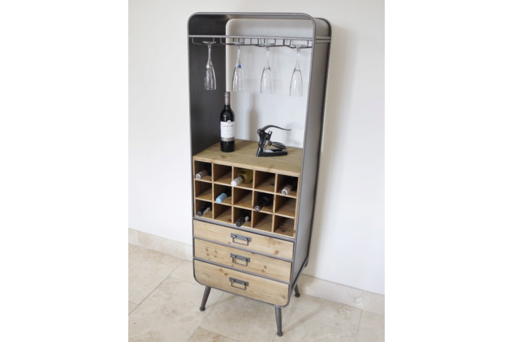 Industrial retro tall metal & wood wine cabinet