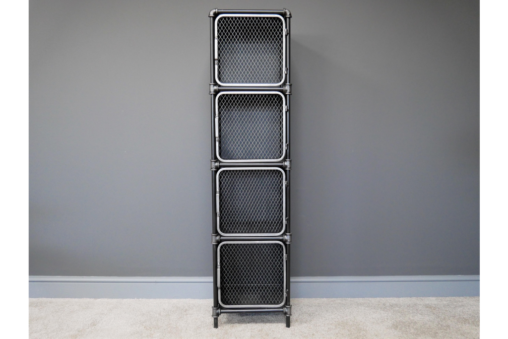 Black industrial retro metal storage locker