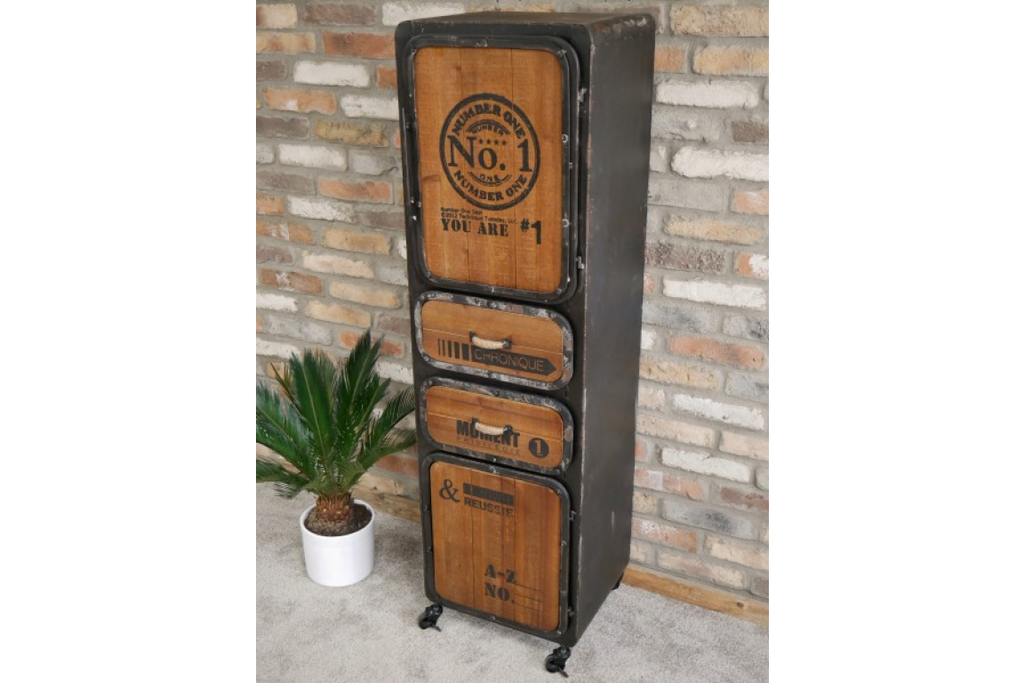 Tall metal & wood industrial storage cabinet.