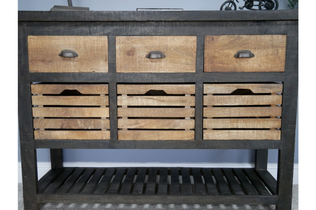 Large Industrial iron and wood storage cabinet - sideboard
