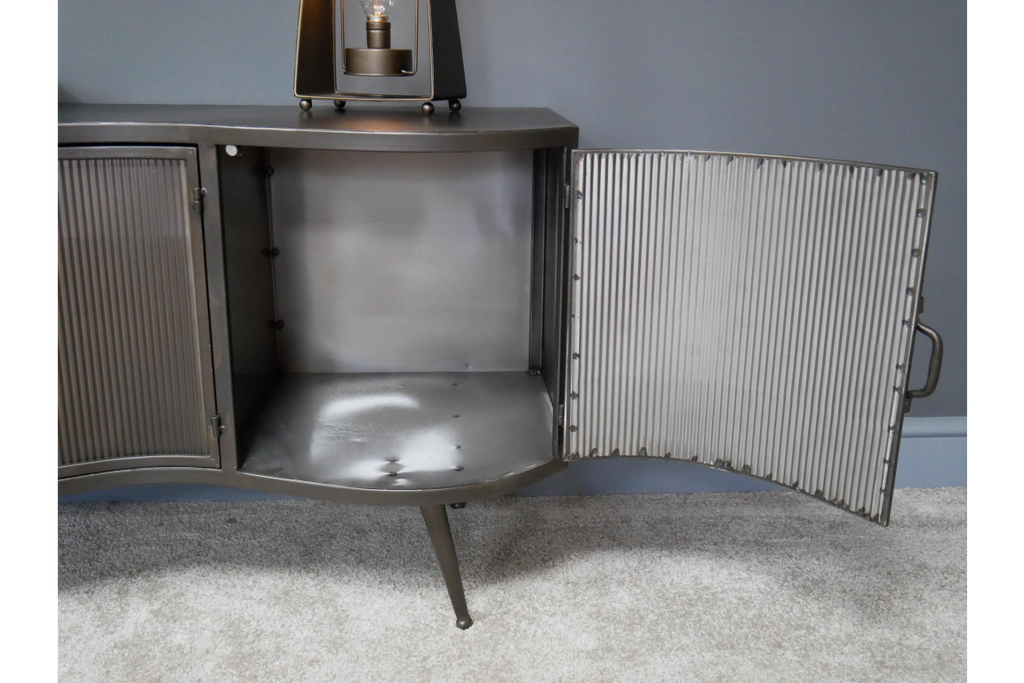 Large industrial retro ribbed metal cabinet