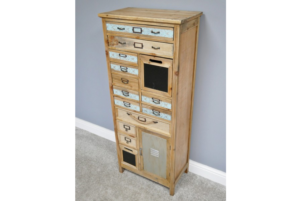 Tall wooden multi drawer storage cabinet.