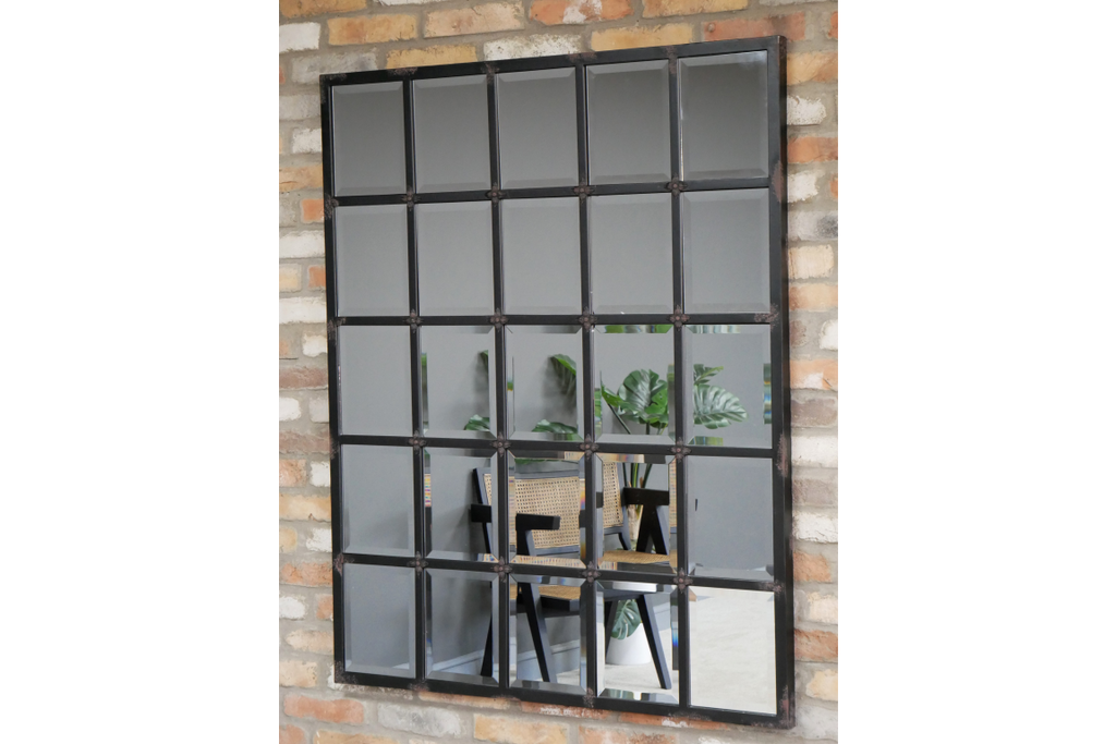 Large rectangular industrial black metal window wall mirror.