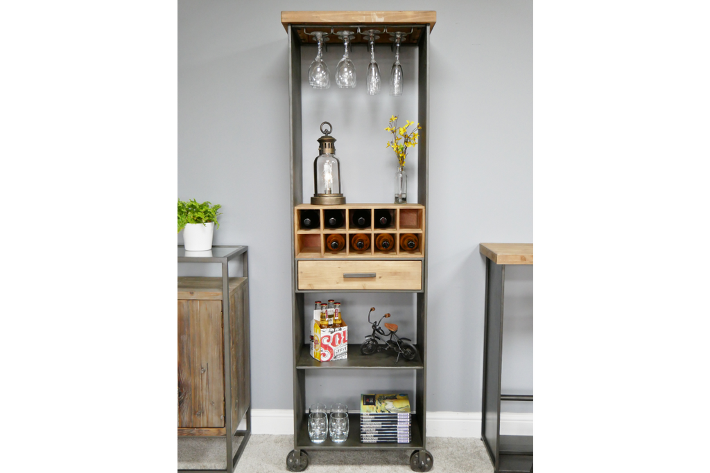 Tall industrial metal and wood wine cabinet.