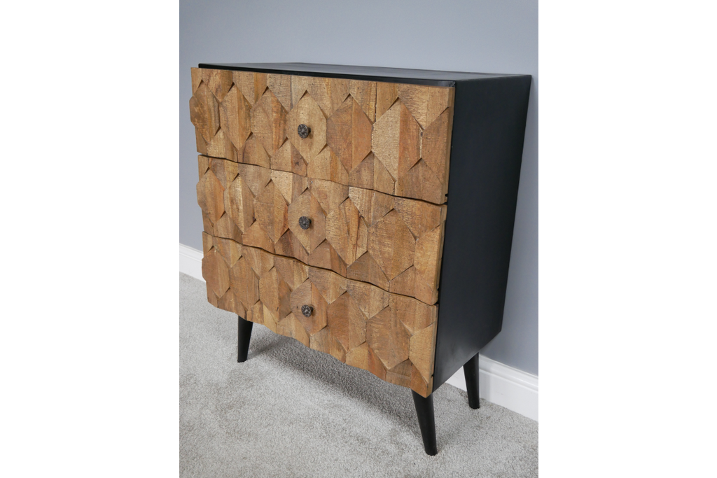 Natural Textured Wood fronted chest of drawers.