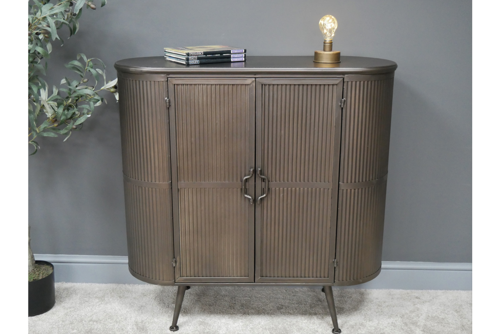 ribbed metal industrial retro cabinet