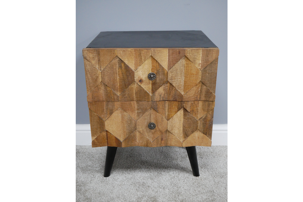 Natural Wood fronted industrial bedside cabinet.