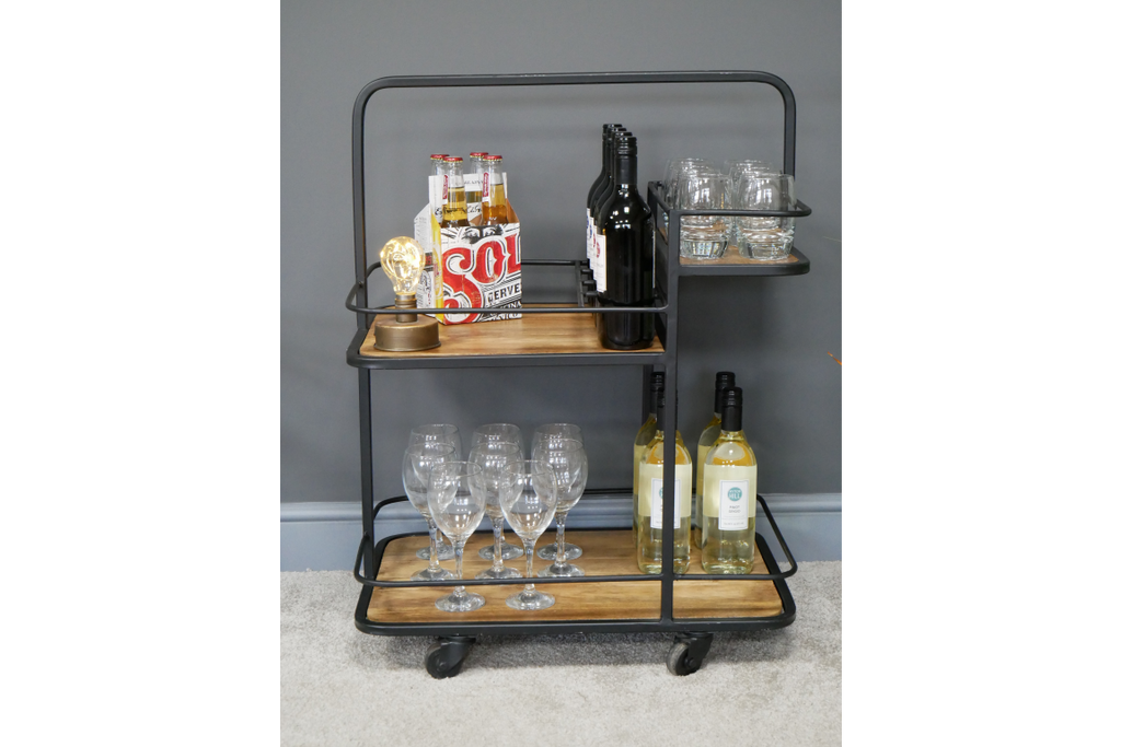 Industrial retro drinks trolley