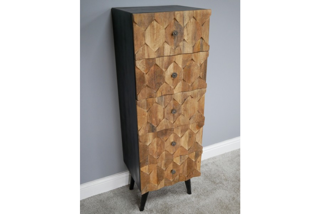 Tall natural wood fronted chest of drawers.