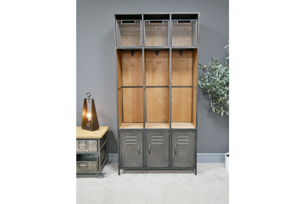 Large Tall Metal & Wood Industrial Hall Stand Locker Cabinet.