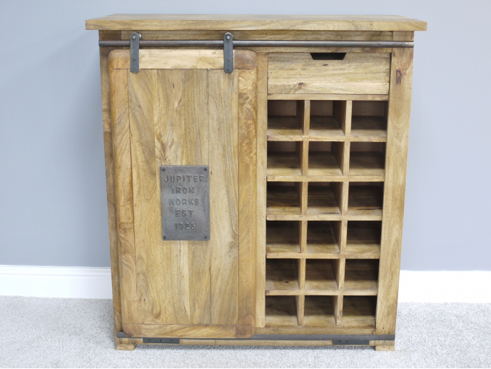 Industrial  iron & wood wine cabinet.