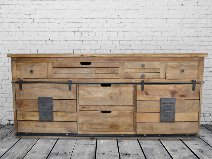Large Industrial iron & wood sideboard