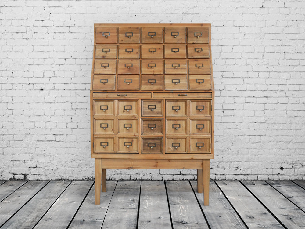 Apothecary multi drawer storage cabinet.