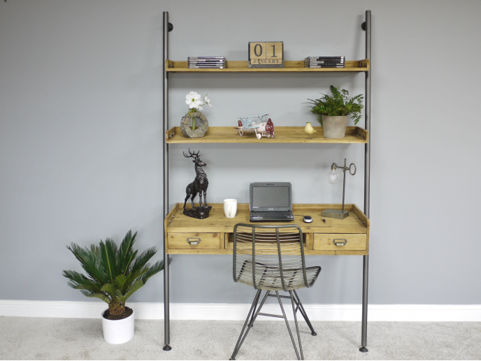 Metal Pipe & Wood Industrial desk/workstation with shelves.