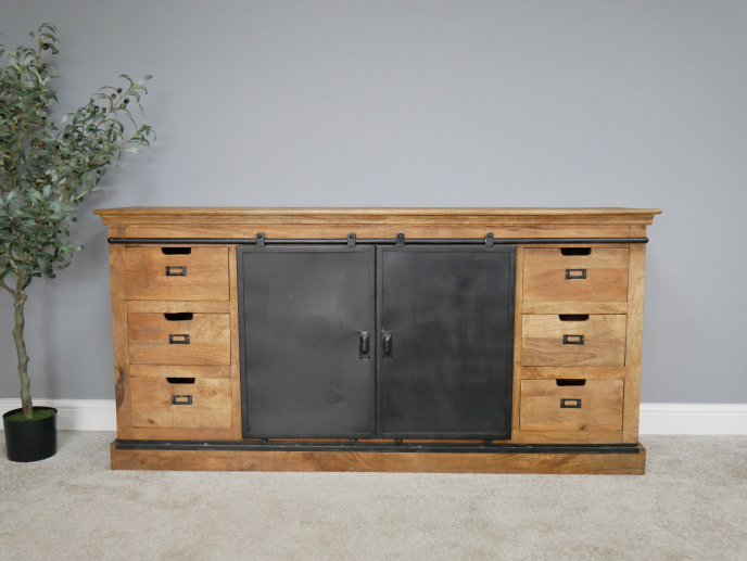 Large iron & wood storage cabinet