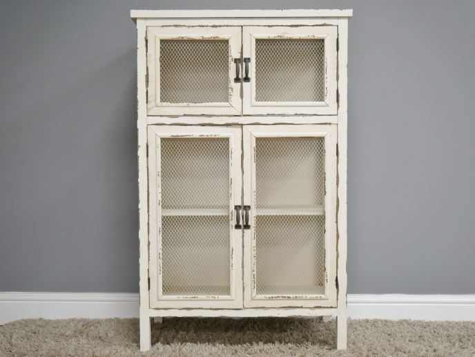 Cream vintage style storage cupboard.