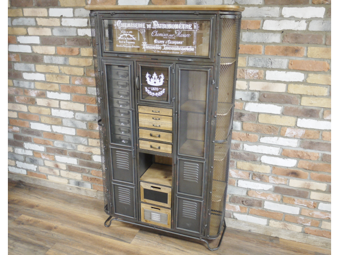 Large Industrial Storage Cabinet. Metal & Wood.