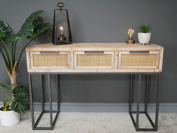 Wood & rattan console/dressing table. Industrial boho style.