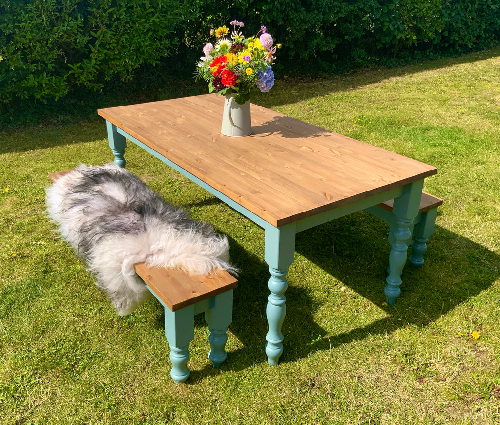 Pine Farmhouse Dining Table Set. Table & 1 or 2 Bench Seats. Any size or colour.
