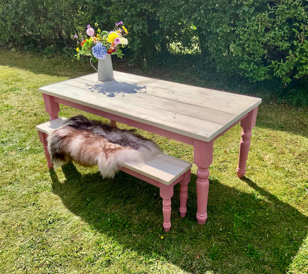 Beautiful Nordic Pink Farmhouse Dining Table & Bench Seat Set.