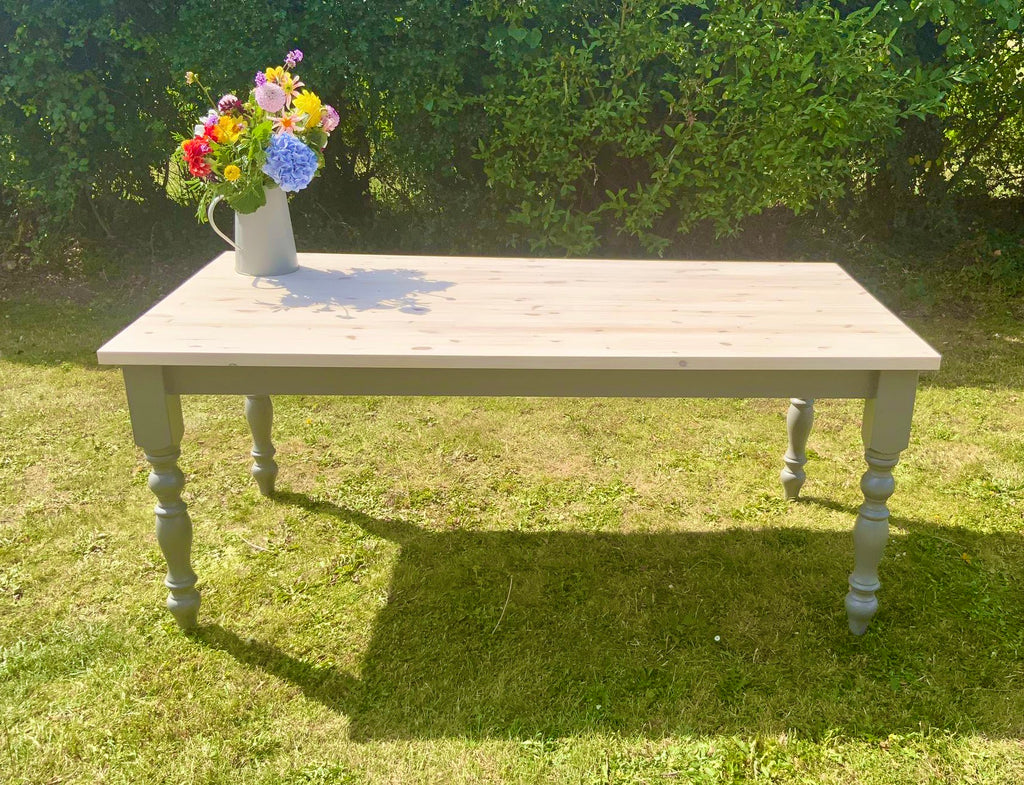 Farmhouse Dining Table with 40mm Whitewashed Table Top