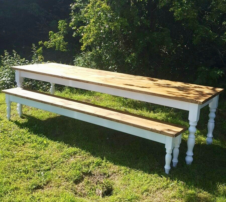9 ft: 270cm Pine Farmhouse Dining Table and matching bench seat. Seats 10 to 12.