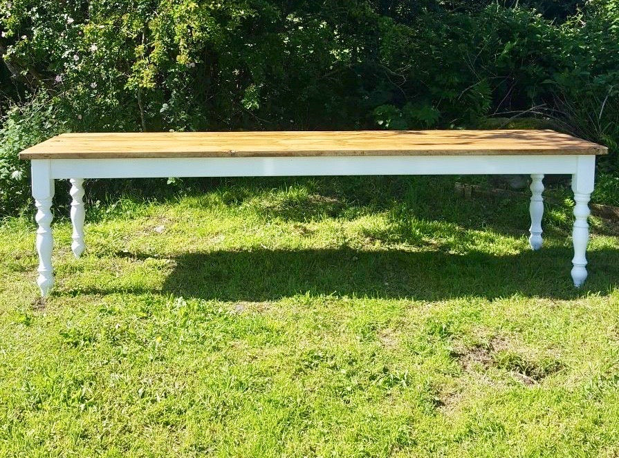 9 Ft Pine Farmhouse Dining Table. Seats 10 to 12. Farrow & Ball .Colour & Size Choice.