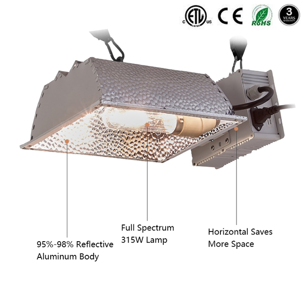 315W CMH 95% Reflectivity Grow Light System for Hydroponic Indoor Plant - GreenLit Grow