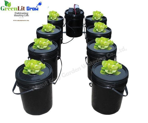 GreenLit Grow 9 buckets Complete aeroponics system with cloner Dutch bucket  Free shipping Hydroponics gardening equipment gardening grow operation greenhouse farming