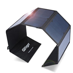 GBtiger 40W Dual Outputs Portable Solar Charger Water Resistant for Phones Tablet Computer
