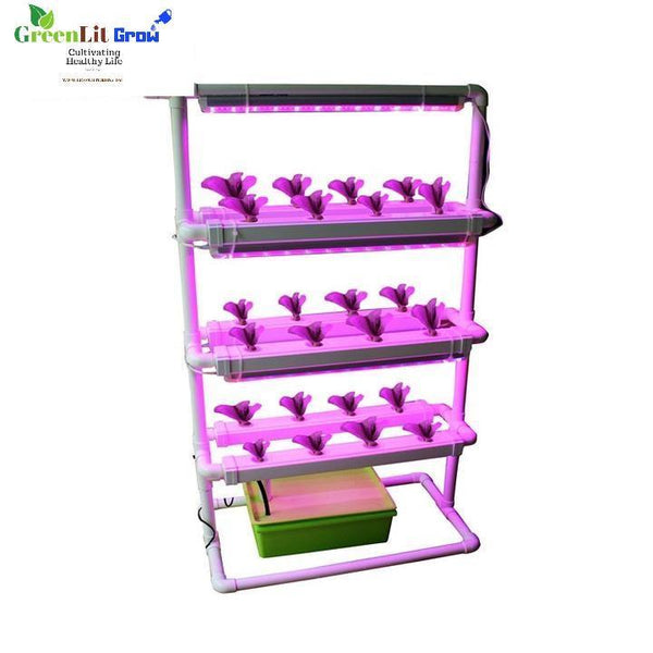 Complete 24pcs  net cup NFT Home Hydroponics system with grow light Square Pipe Design - GreenLit Grow