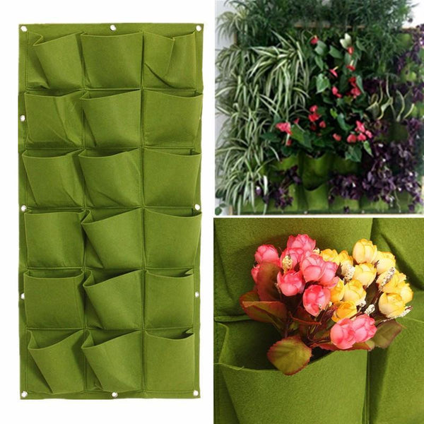 New 18 Pocket Vertical Greening Hang Wall Garden Grow Bag - GreenLit Grow