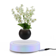 Levitation Rotating Magnetic Floating Suspension Flower Air Bonsai Pot Levitating LED  for Home Office Decoration