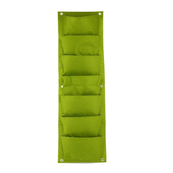 Green Vertical Garden Planter Wall-mounted Planting Flower Grow Bag 7 Pocket - GreenLit Grow