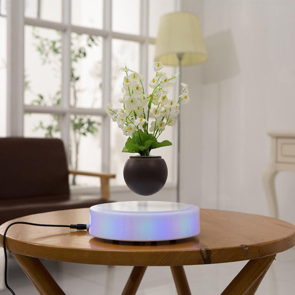 Levitation Rotating Magnetic Floating Suspension Flower Air Bonsai Pot Levitating LED  for Home Office Decoration - GreenLit Grow