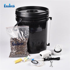 Single Site - Black Bucket Deep Water Culture Hydroponic System.