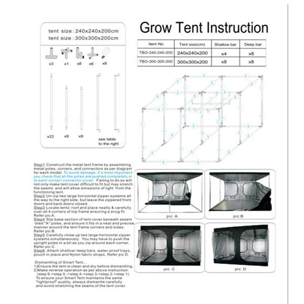 Grow tent Indoor Hydroponic greenhouse 240*240*200 cm Box with Reflective Mylar - GreenLit Grow